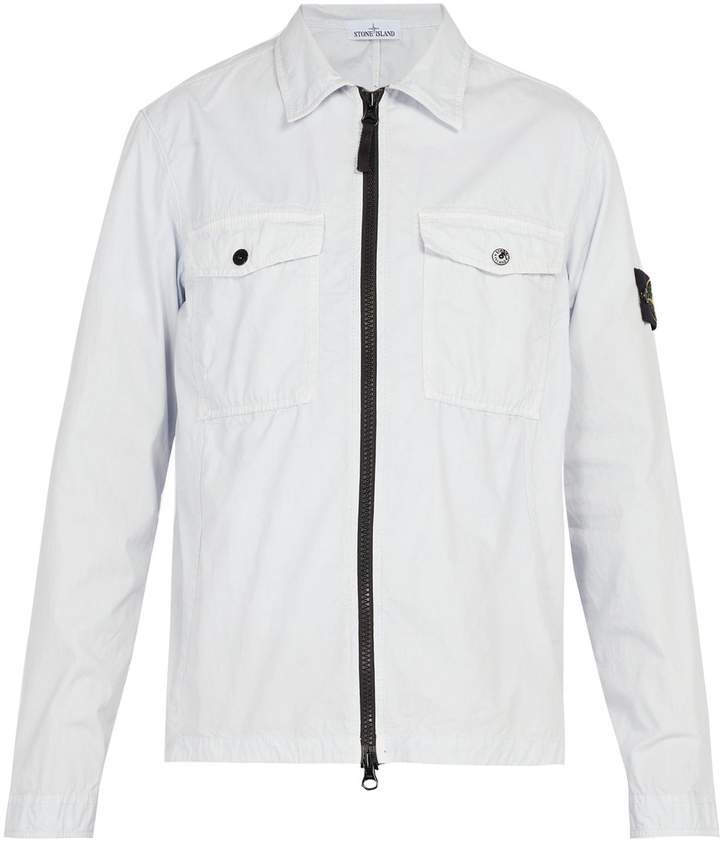 100% top quality new style popular stores Stone Island Brushed cotton-canvas overshirt | Stone Island ...