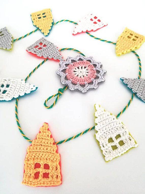Christmas bunting, Crochet garland, kids room decor, christmas ...