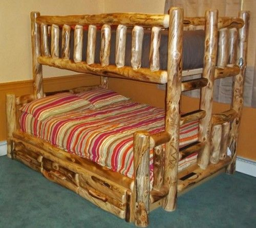 Rustic Bunk Bed Barn Wood Natural Live Edge With Images
