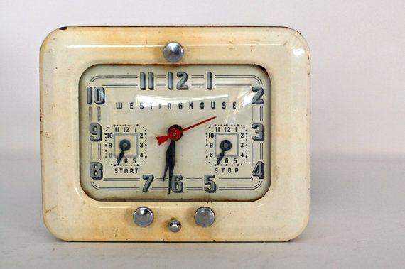 Vintage Westinghouse Cream Enamel Clock And Kitchen Timer Clock