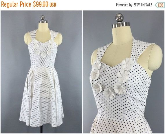 SALE 50% OFF - Vintage 1940s Dress / 40s Day Dress / 1950s Polka Dot ...