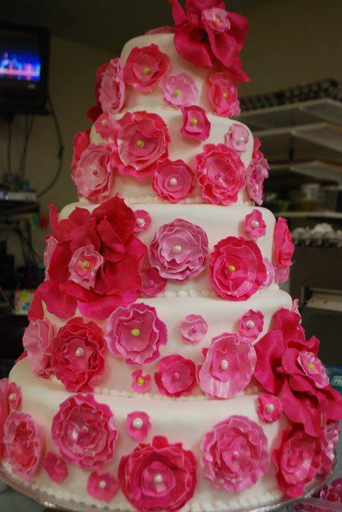 Hot Pink Wedding Cake Fondant Flowers