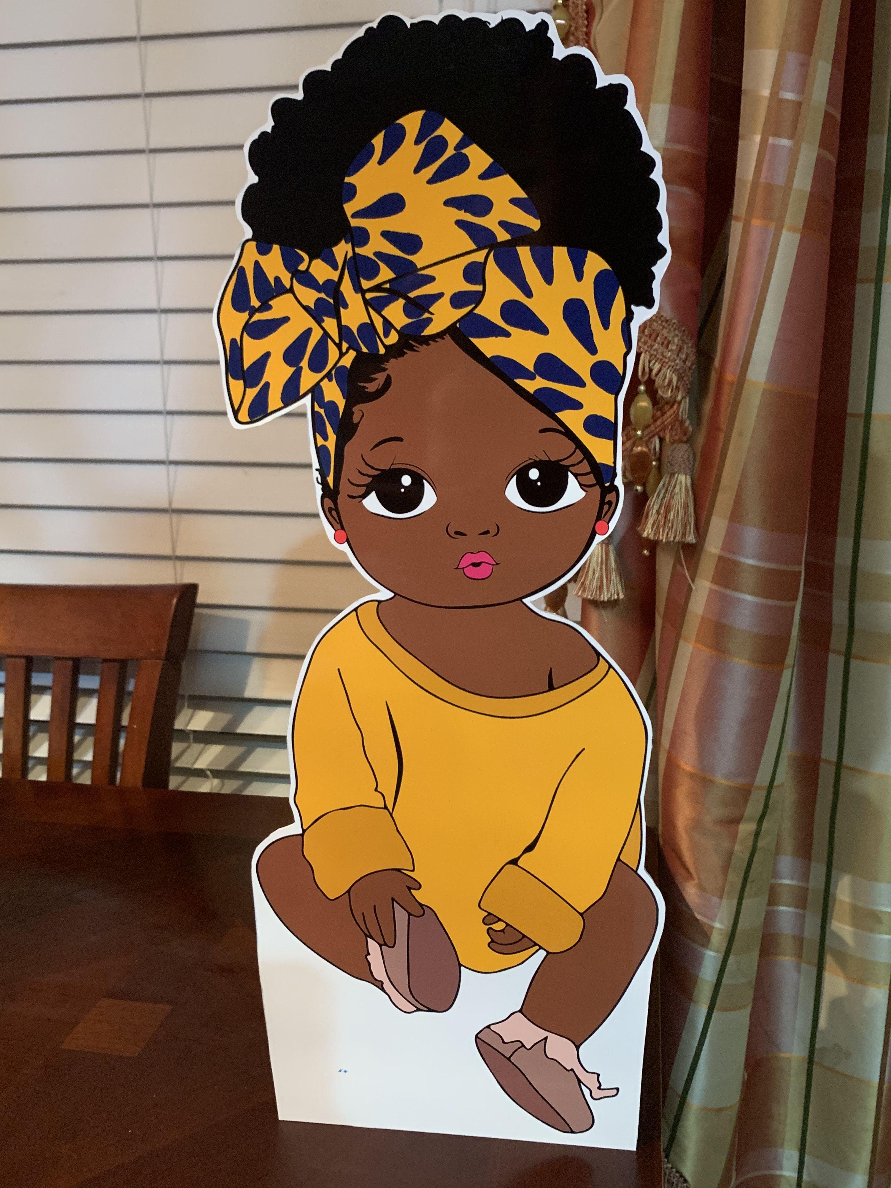 Cute african american girl puff hair babies standing decor