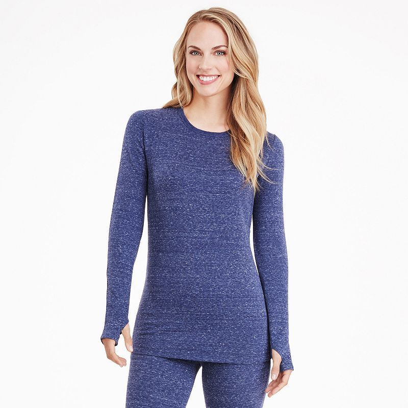 Women's Cuddl Duds Comfortwear Fleece-Lined Long Underwear Crewneck Top, Size: Medium, Dark Blue