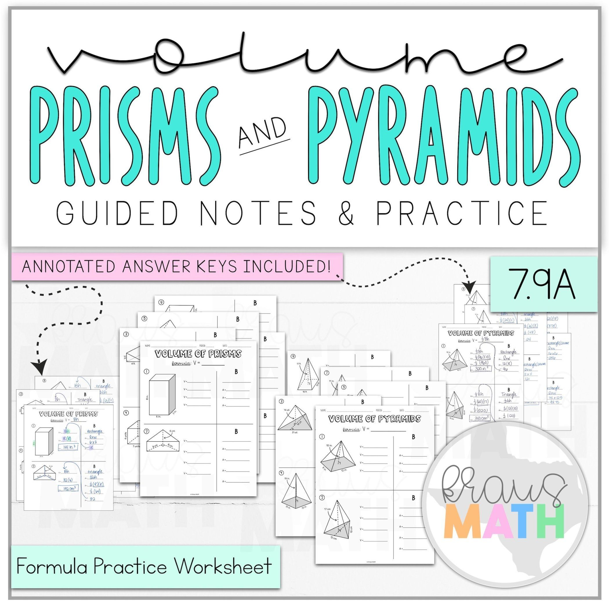 Volume Of Prisms Pyramids Worksheet Bundle Teks 7 9a Kraus Math Math Formulas Kids Worksheets Printables Math Teks
