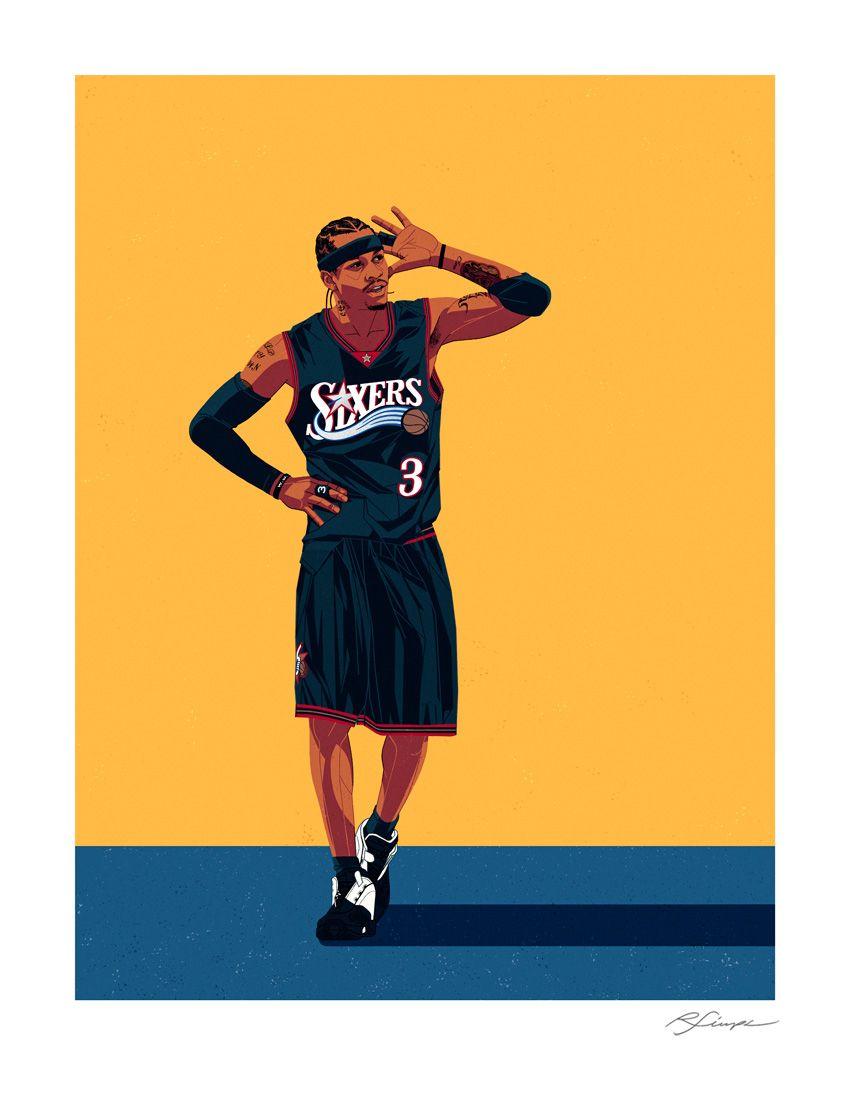 Iverson Nba Basketball Art Basketball Art Allen Iverson