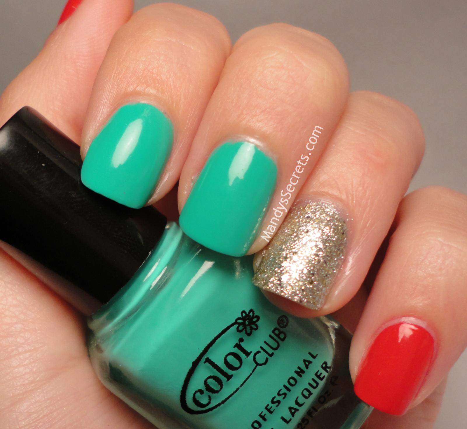 Coral Turquoise Glitter Nails - Uñas coral, turquesa y brillos ...