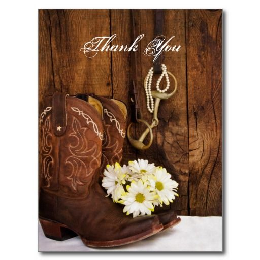 Western Themed Wedding Thank You Cards Daisies Horse Bit Country Wedding Thank