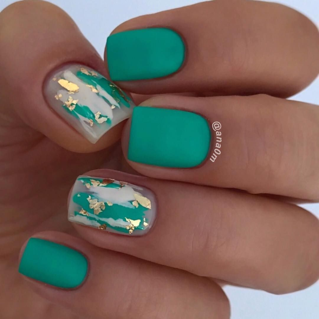 Green And Gold Matte Nails For Summer 2018 Cute Summer Nail Designs Trendy Nails Green Nails
