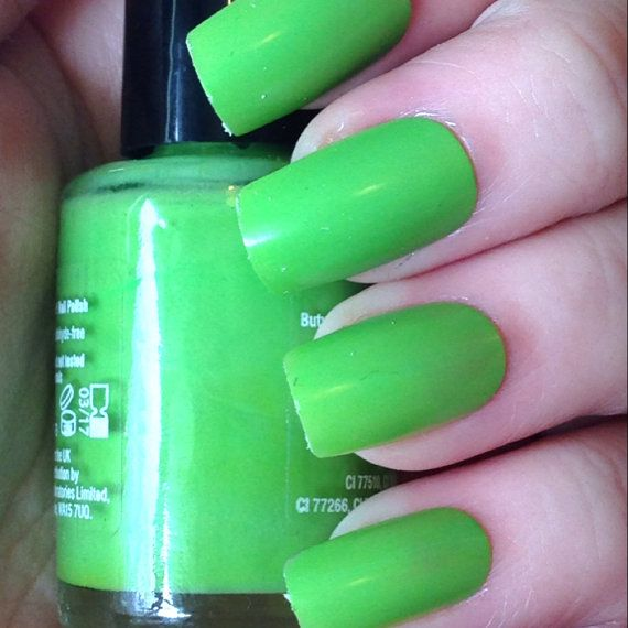 Bright green nail polish - stock collection 10ml on Etsy, £3.99