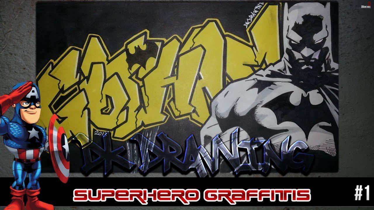 Batman Graffiti Drawing step by step - Graffiti Letters Gotham ...