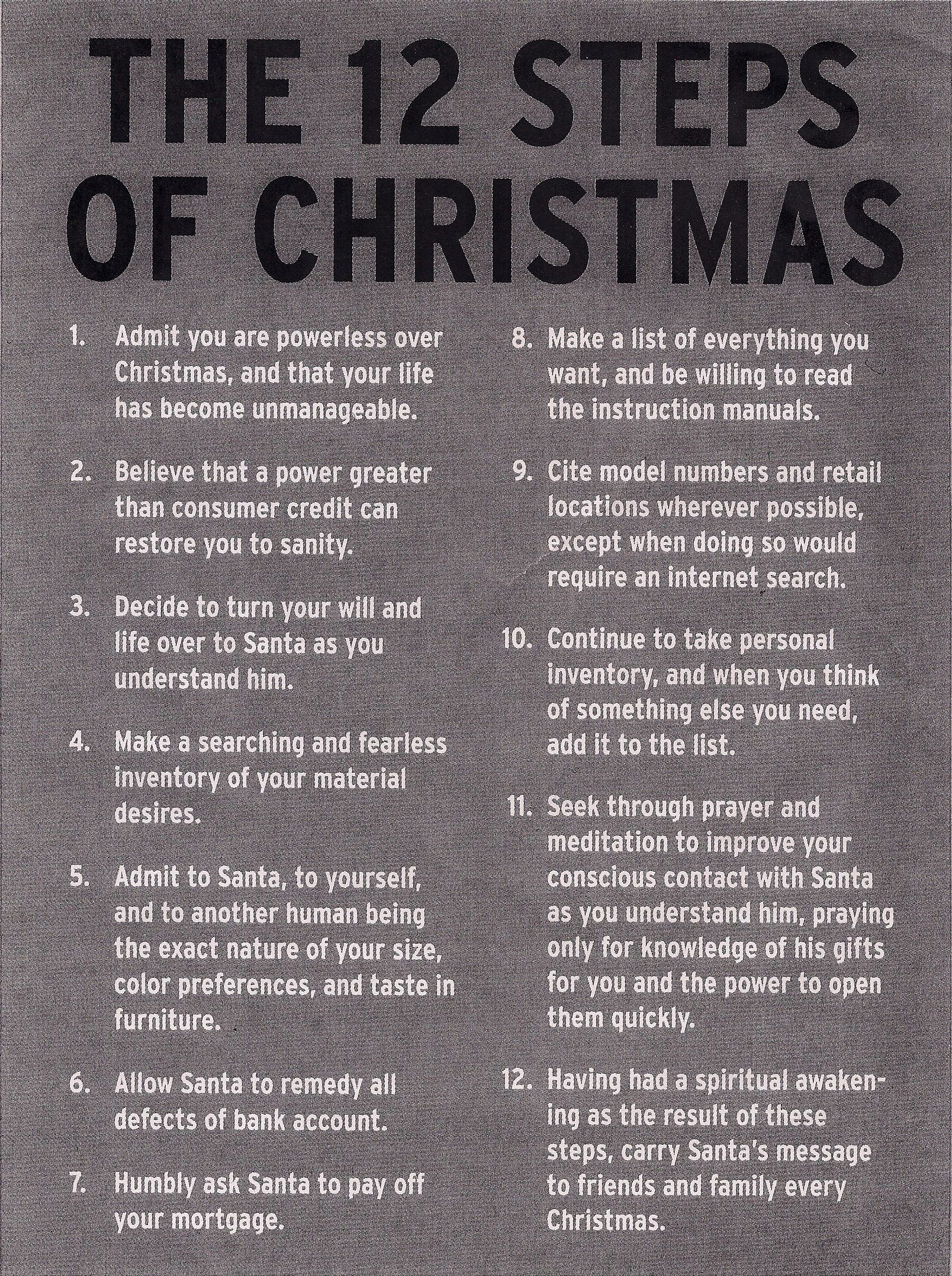 The 12 Steps of Christmas.....Not a song, but a Christmas