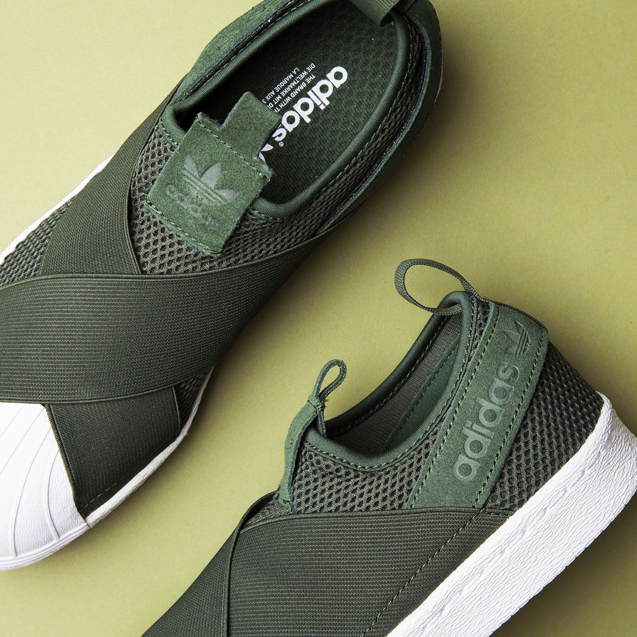 adidas superstar slip on army green