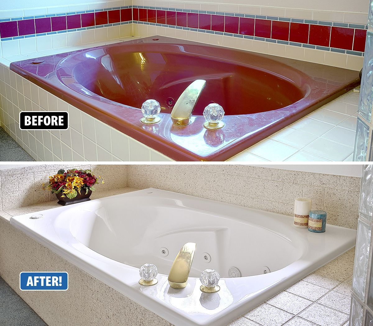 Miracle Method Transformed This Outdated Jacuzzi Tub To Look Like New And Gave It A Current Modern Look Without Tearin Tub Remodel Tub Refinishing Jacuzzi Tub