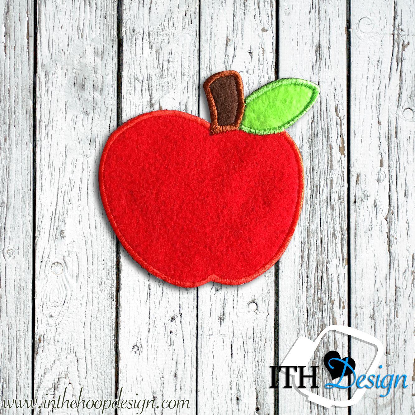 Free apple applique embroidery design 4x4 Divisórias