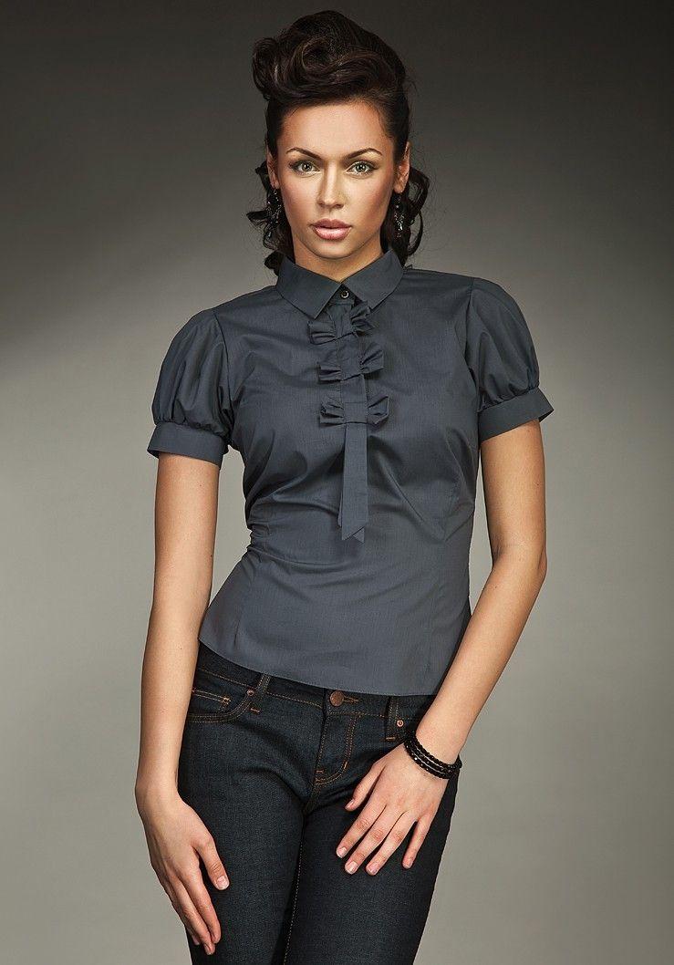 sélectionner pour authentique gamme complète d'articles super service Chemisier cravate, manches courtes, gris.   BDD Chemises en ...