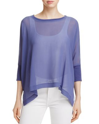 Eileen Fisher Petites Two-Piece Sheer High/Low Top | Bloomingdale\'s ...
