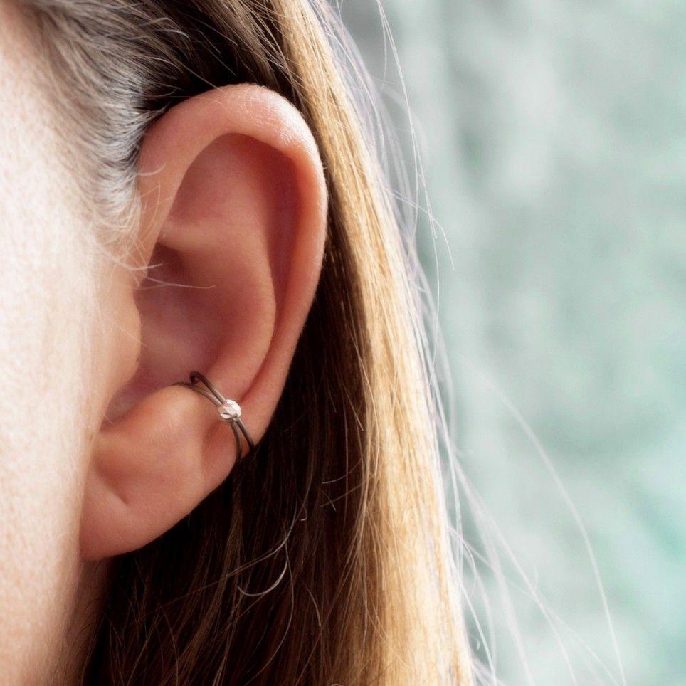 Bague d/'oreille argentée perle