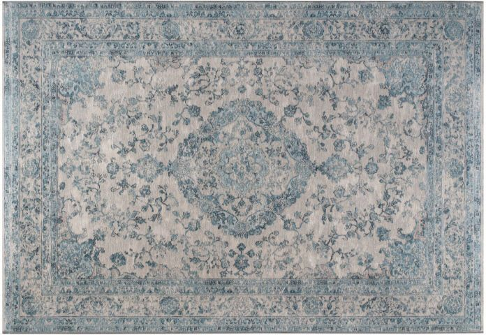 Faded Vintage Traditional Persian Medallion Style Teal Grey Cotton Chenille Rug