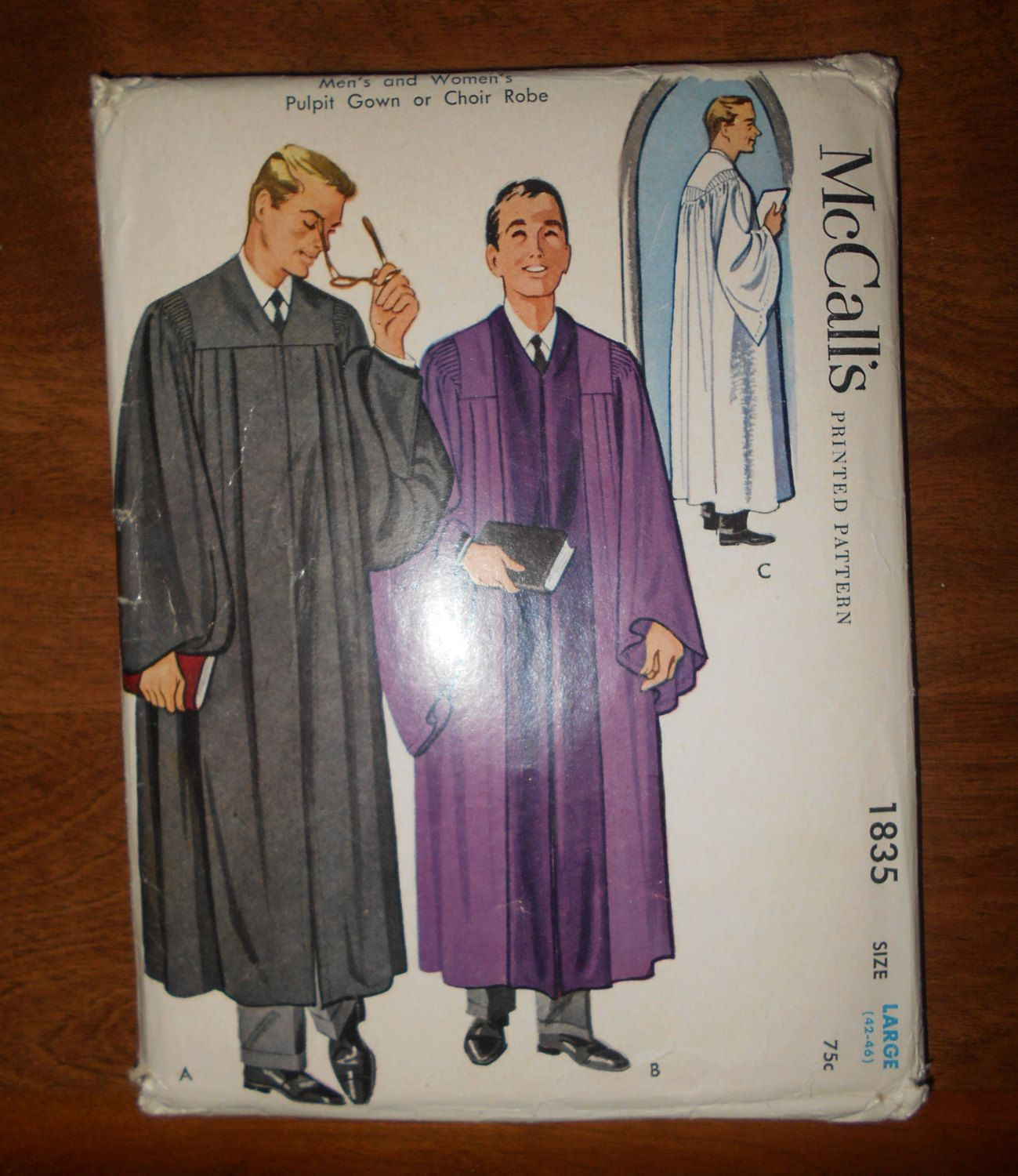 1953 McCall\'s Sewing Pattern # 1835 Men\'s or Women\'s Pulpit Gown ...