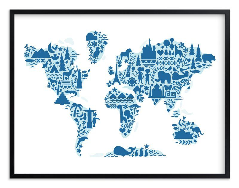 Little Big World Map By Jessie Steury In Beautiful Frame Options - Little big world map