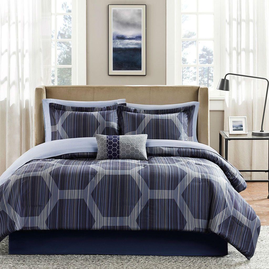 Queen Size 9 Piece Elegant Comforter Set With Dark Blue