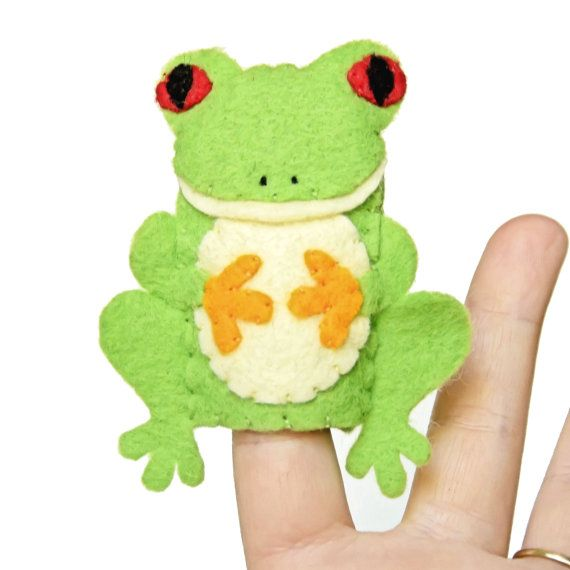 Tree frog handmade felt finger puppet on etsy for Frog finger puppet template