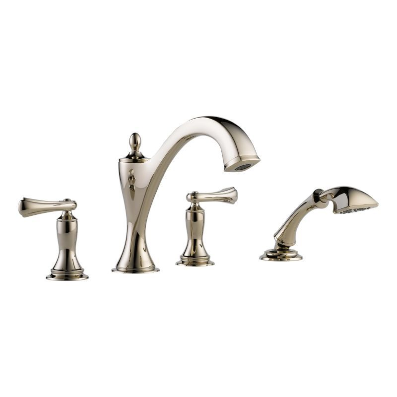Brizo T67485-LHP Roman Tub Filler Faucet with Hand Shower Less Handles from the Brilliance Polished Nickel Faucet Roman Tub Double Handle