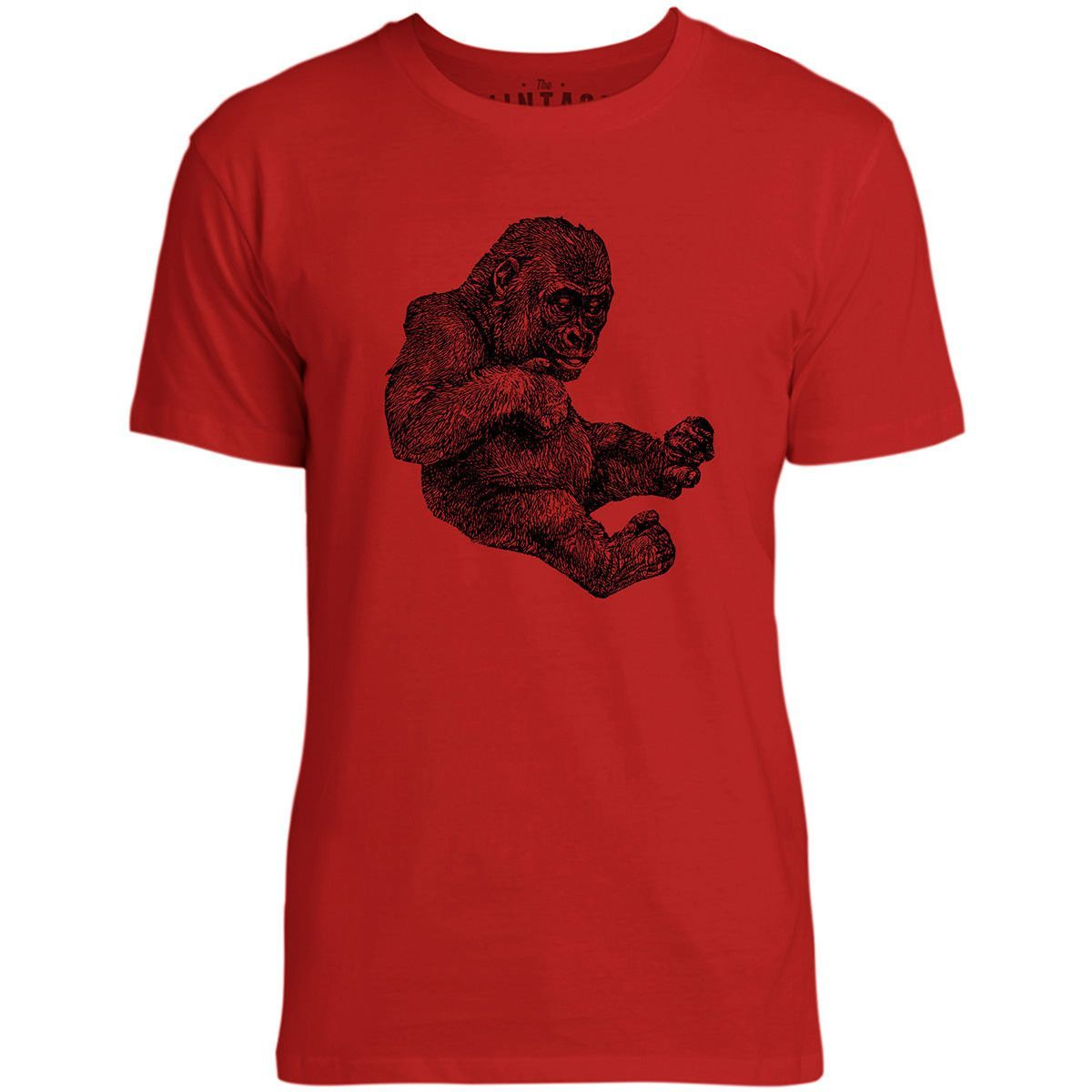 Mintage Baby Gorilla Mens Fine Jersey T-Shirt (Red)