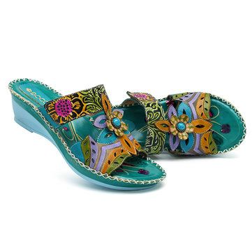 42b498e04d8ac SOCOFY Bohemian Leather Adjustable Hook Loop Printing Forest Sandals ...