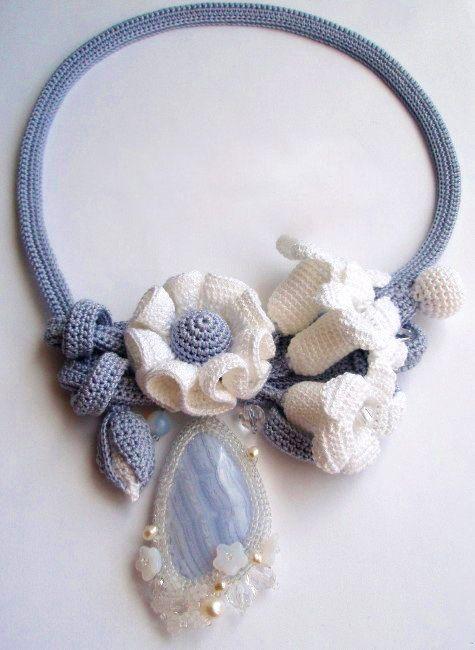Original crochet jewelry by Tatiana Potemkina | collares de crochet ...
