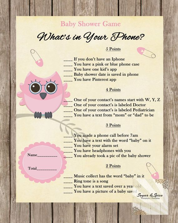 Pink Owl Baby Shower Game Printable What S In Your Phone Game