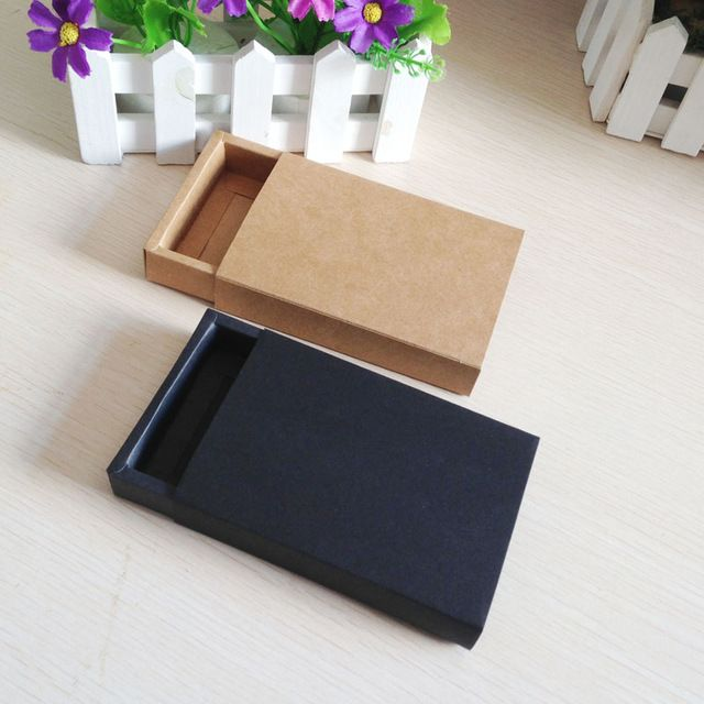 1388c69bd00 50PCS Lot Free Shipping Gift box Retail Black Kraft Paper Drawer Box Gift  Craft Power Bank Packaging Cardboard Boxes