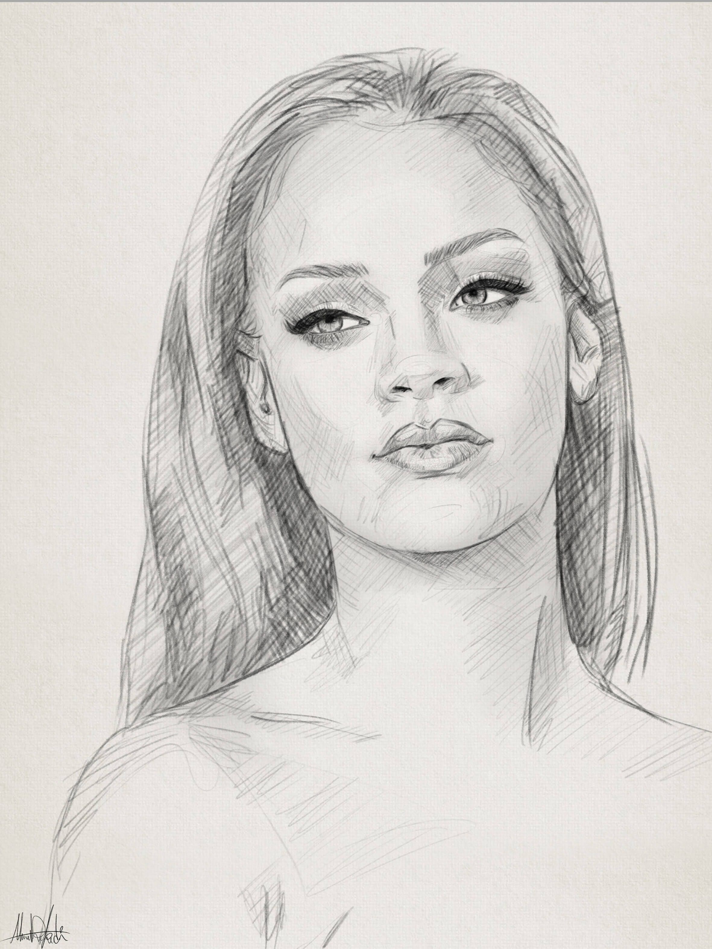 Pencil sketch drawing portrait of rihanna by ahmad kadi