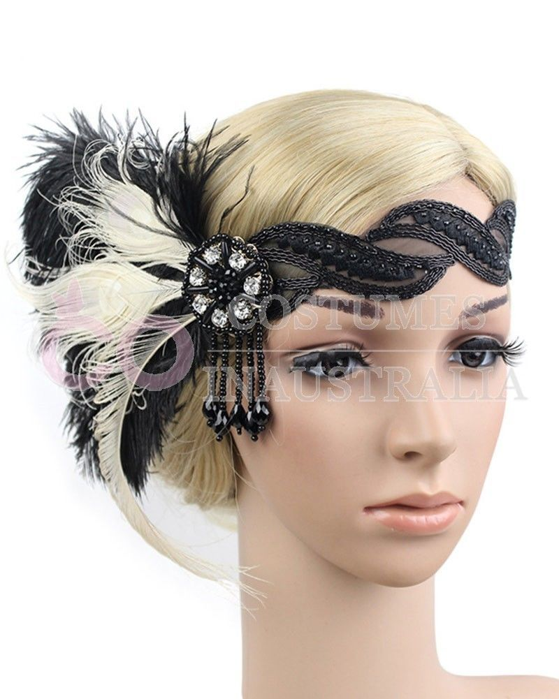 1920s Headband Feather Black Bridal Great Gatsby 20s Flapper Headpiece Gangster