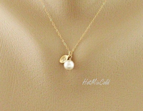 initial pendant pearl necklace personalized monogram necklace gold leaf charm necklace bridesmaid gifts
