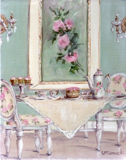 original whimsical painting shabby chic high tea postage is included australia wide gail. Black Bedroom Furniture Sets. Home Design Ideas