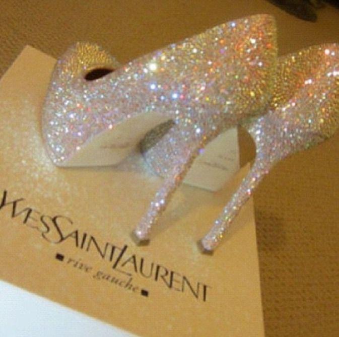 Sparkling High Heels Yves Saint Lau Glitter Shoes