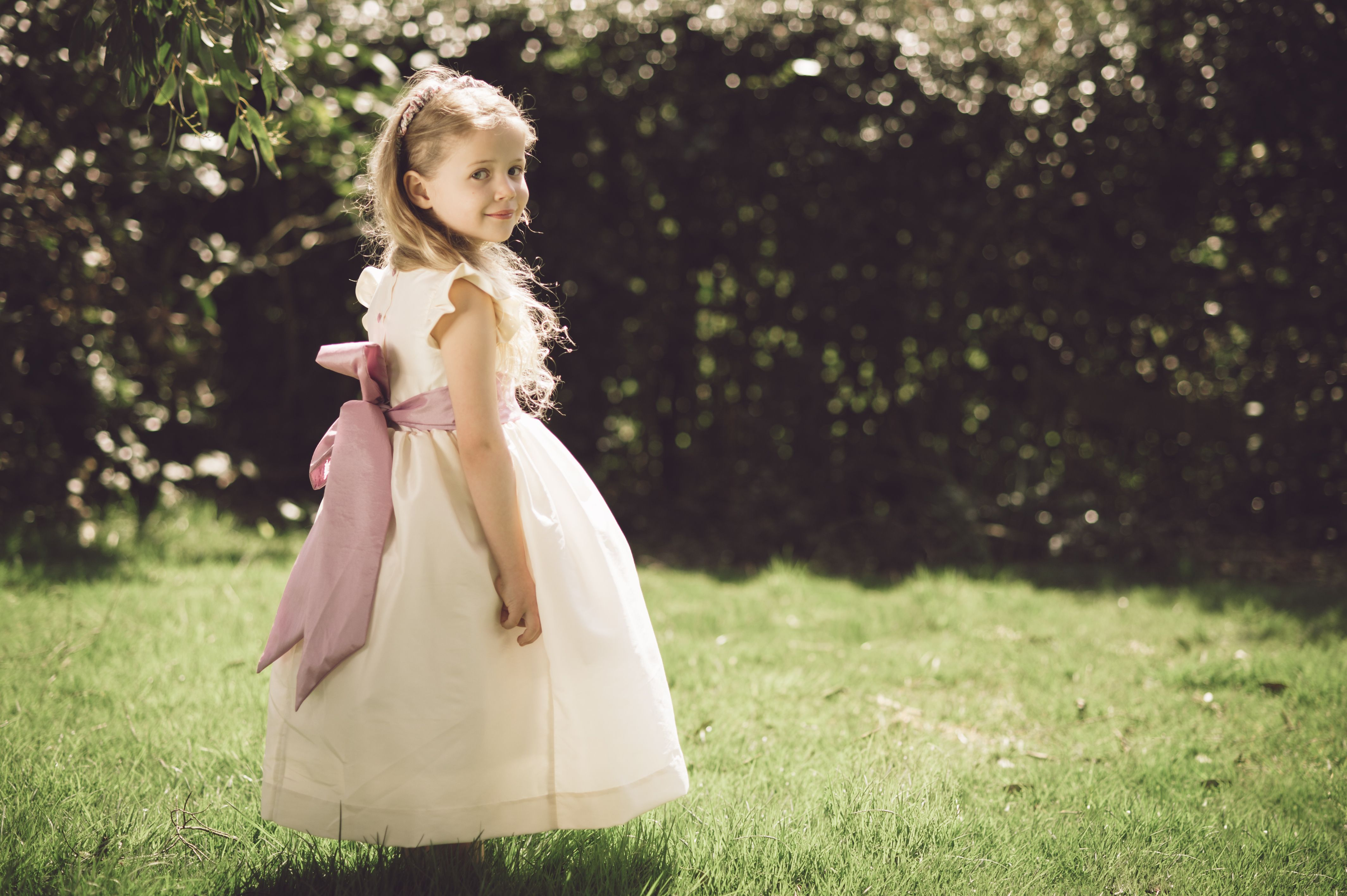 Pretty Cream Flower Girl Dress With Soft Pink Sash By Www