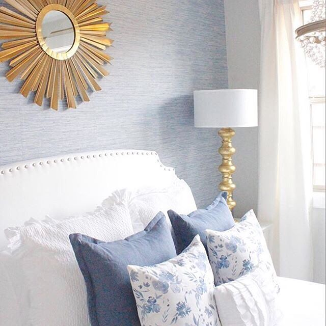 Texture Sheen And Just A Touch Of Pattern Our Indigo Fiore Pillows Are Right At Home In This Blue Master Bedroom Light Blue Bedroom Blue Wallpaper Bedroom Caitlin wilson grasscloth wallpaper