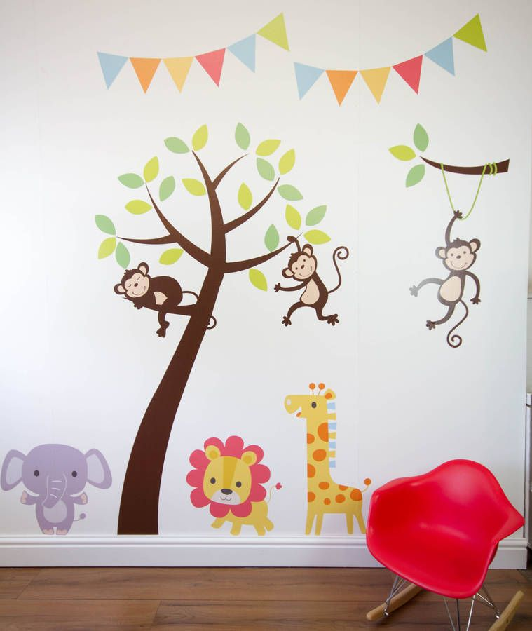 Jungle Friends Tree Wall Stickers & Jungle Friends Tree Wall Stickers | Jungle wall stickers Nursery ...