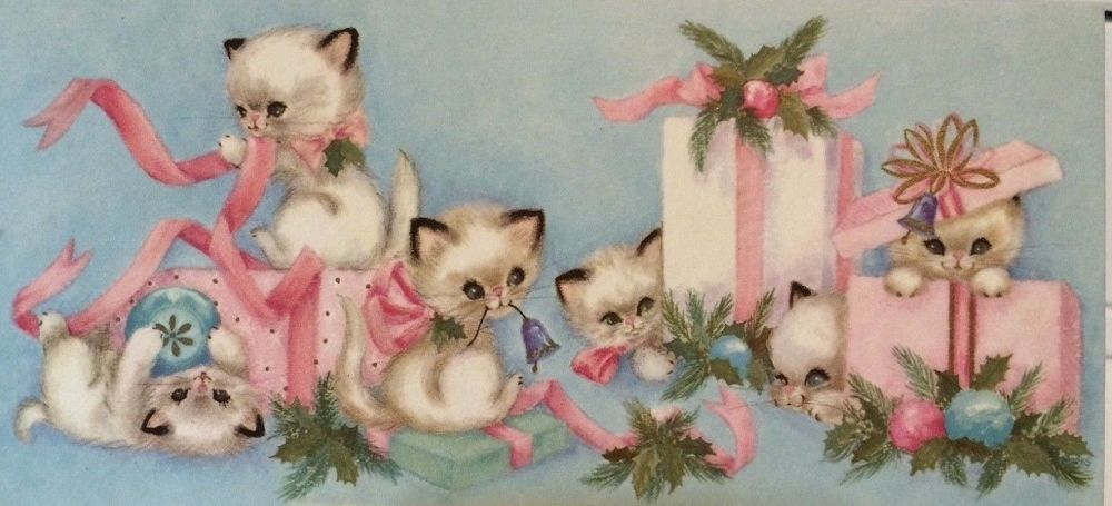 Cute Kitty Cats Play With Gifts Vintage Pinks Blue Christmas Greeting Card Cat Christmas Cards Vintage Christmas Cards Vintage Christmas Toys