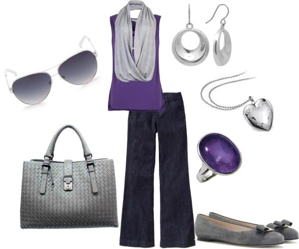"""""""Silver and Grape Casual"""" by dessica-mcintosh-mabry on Polyvore"""
