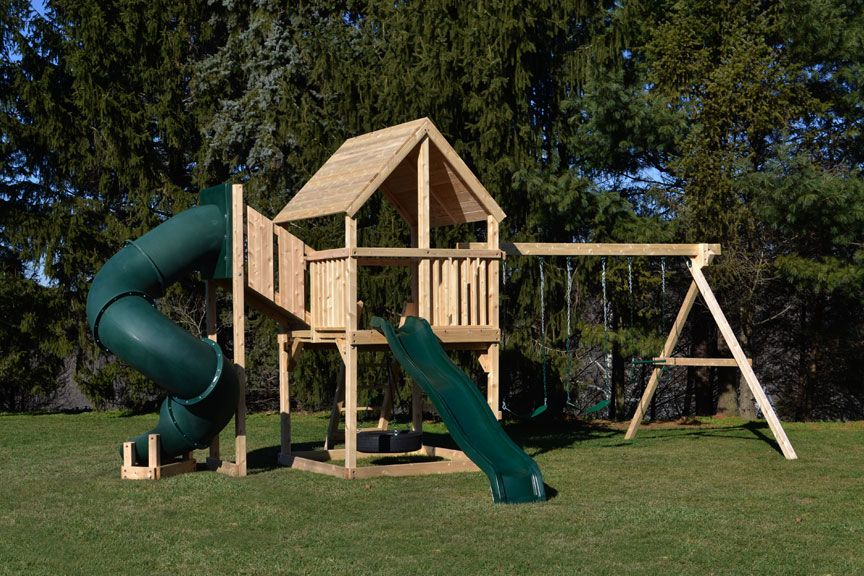 Swing Set With Tube Slide And Wood Roof Kid S Room In 2019 Swing