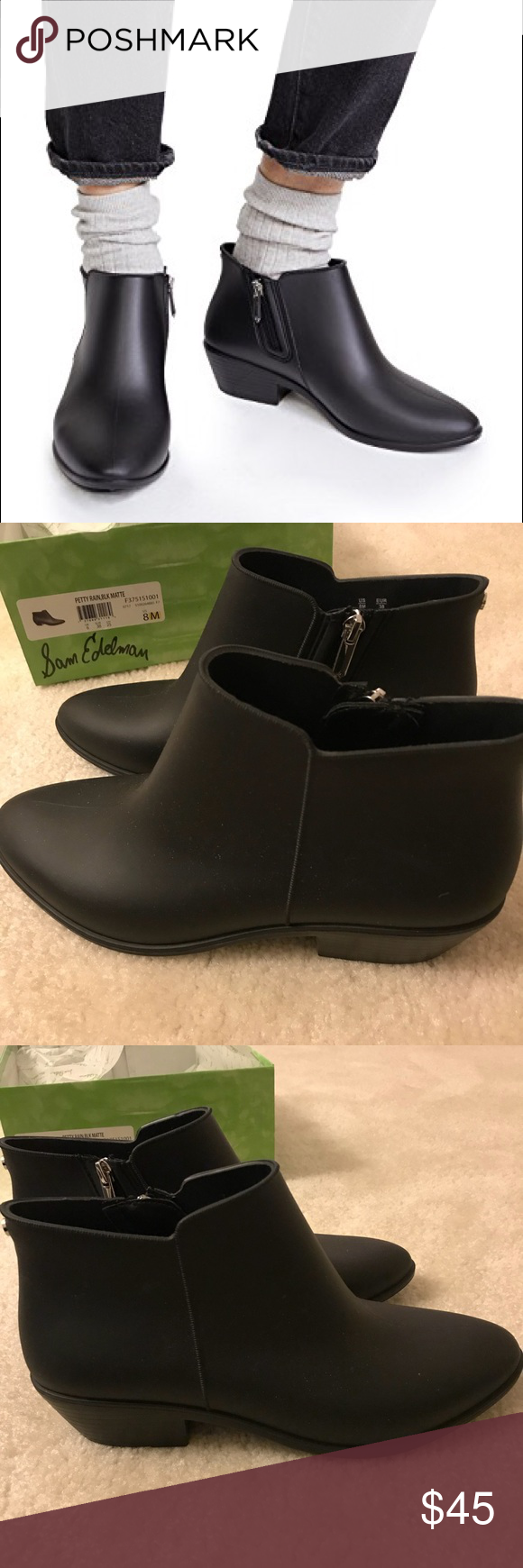 f74c411984d1 Sam Edelman Petty Rain Booties Beautiful rain booties! Perfect for the  puddles but comfortable even when it s not raining. Worn once but felt they  were a ...