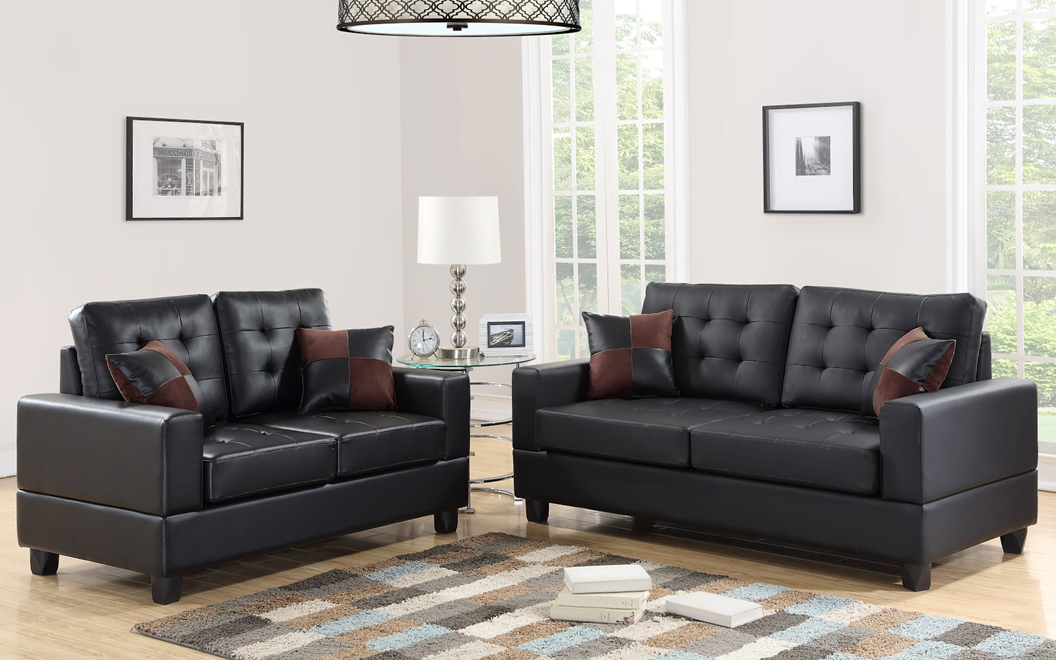 Hh7855 2pc Sofa And Loveseat Set Covered In Thick Black Faux