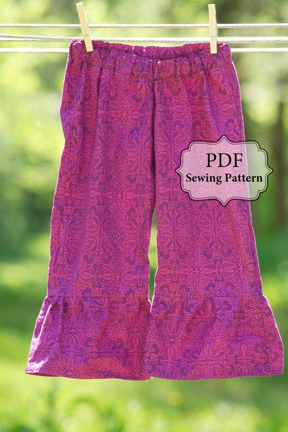 PDF Ruffle Bottom Pants Pattern - sz  3m - girls 6 INSTANT DOWNLOAD
