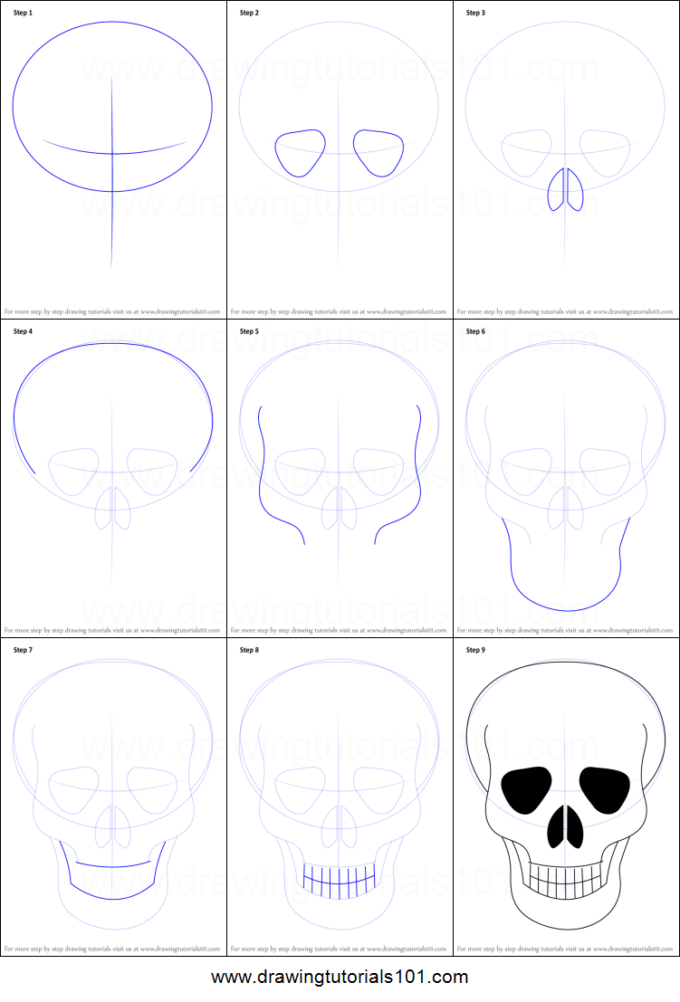 How to draw skull easy printable step by step drawing sheet drawingtutorials101 com