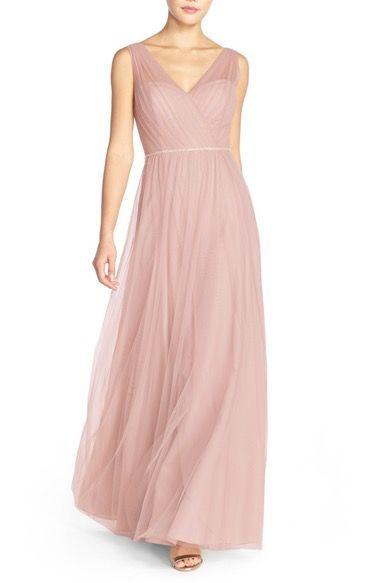 Main Image - Watters 'Kathy' Beaded Waist Bobbinet Gown