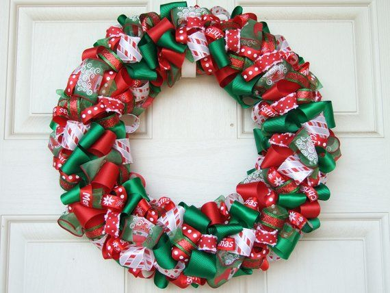 Christmas Ribbon Wreath - Christmas decoration home decor holiday